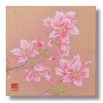 桃の花 日本画 3 Peach blossoms