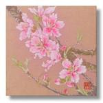 桃の花 日本画 2   Peach blossoms
