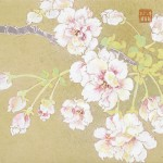 「花笑み」 さくら 日本画 Japanese painting of cherry blossoms  13×13