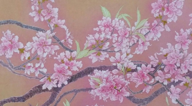 桃の花 日本画 2 Peach blossoms  Japanese‐style paintings